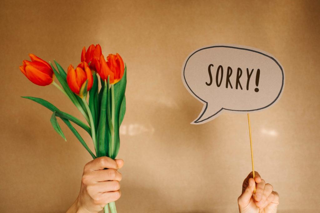 Hände halten einen Blumenstrauß aus Tulpen und eine Sprechblase in der das Wort Sorry steht.
